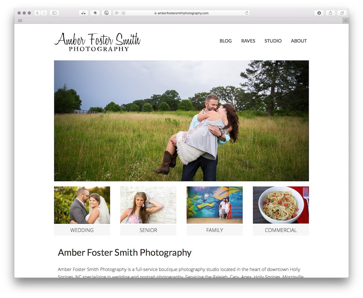 Amber Foster Smith Photography - home page view