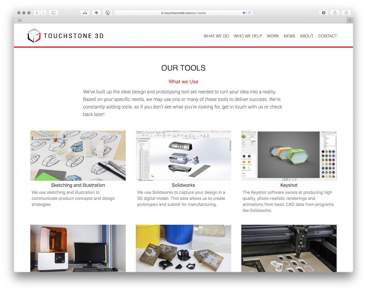 "TS3D - ""Our Tools"" page view"