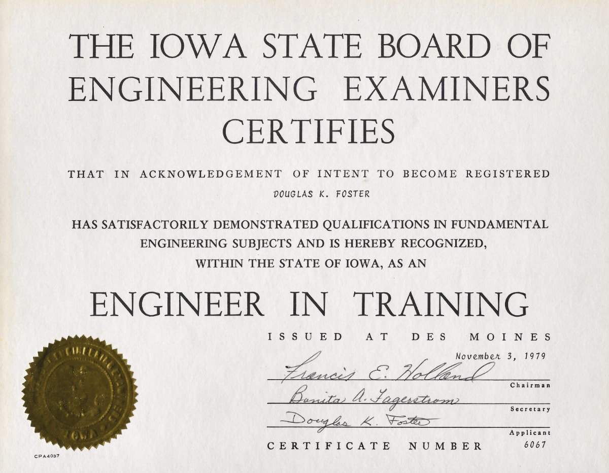 Engineer in training (EIT) certificate